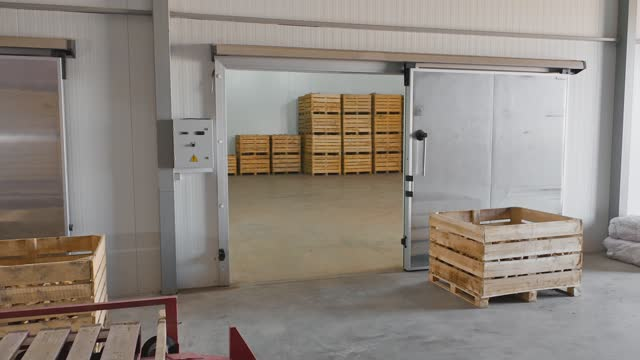 cold storage warehouse for boxes with onions - refrigerator stock videos & royalty-free footage