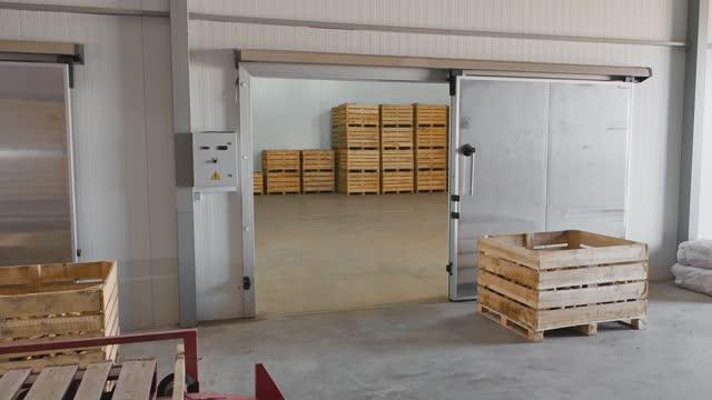 vídeos y material grabado en eventos de stock de almacén de almacenamiento en frío para cajas con cebollas - paleta herramientas industriales