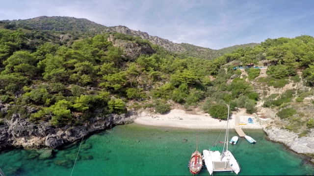 cold water bay from oludeniz - aerial video - oludeniz stock videos and b-roll footage