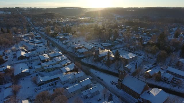 cold winter morning in small town usa - small town america stock videos & royalty-free footage
