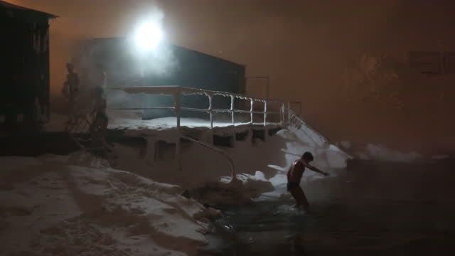 cold-water swimmers in the waters of lake dolgoye at the umka ice swimming club at night in norilsk, russia, on monday, december 21, 2020. the... - ice stock videos & royalty-free footage