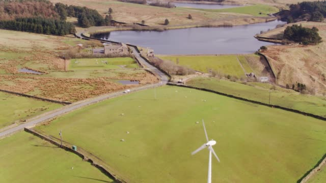 coldwell reservoirs, lancashire - drone shot - lancashire stock videos & royalty-free footage