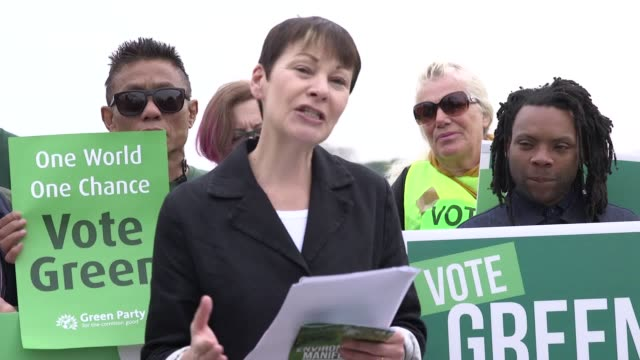 coleader of the green party caroline lucas launches her party manifesto in woodberry wetlands north london - green party stock videos and b-roll footage