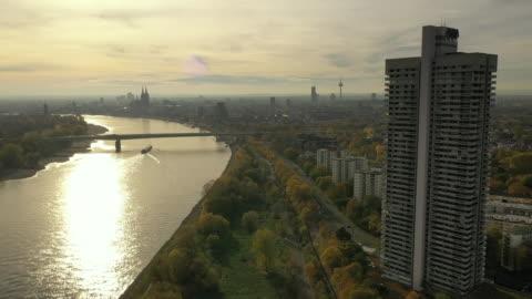 colgone rhine sun - riverbank stock videos & royalty-free footage