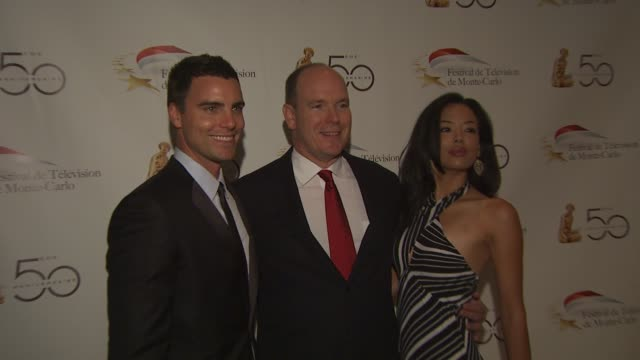 colin egglesfield hsh prince albert ii of monaco stephanie jacobsen at the monte carlo television festival cocktail party at beverly hills ca - monaco royalty stock videos & royalty-free footage