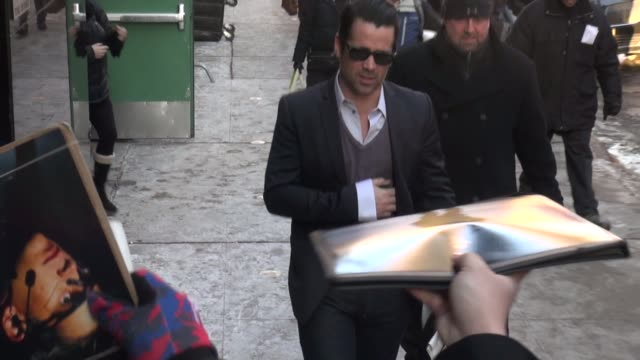 colin farrell arrives at the good morning america show and signs for and poses with fans - celebrity sightings in new york on in new york city. - colin farrell stock videos & royalty-free footage