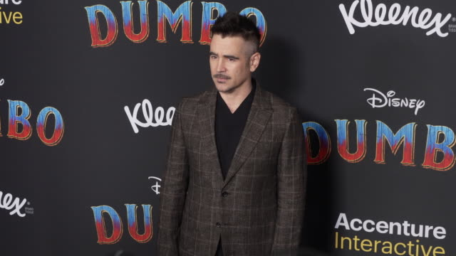 """colin farrell at the """"dumbo"""" world premiere at the el capitan theatre on march 11, 2019 in hollywood, california. - colin farrell stock videos & royalty-free footage"""