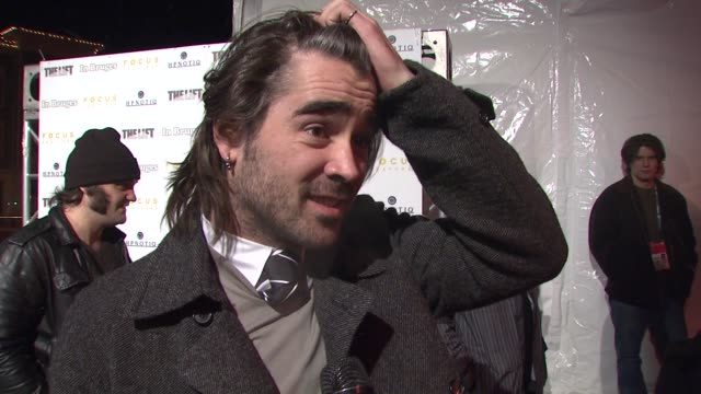colin farrell on seeing the movie with an audience at the 'in bruges' premiere and party at the eccles theatre in park city, utah on january 17, 2008. - colin farrell stock videos & royalty-free footage