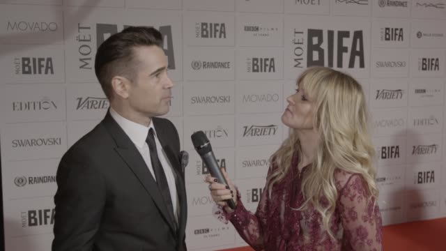colin farrell on working with yorgos lanthimos on 'the lobster' at the moet british independent film awards at the old billingsgate on december 6,... - colin farrell stock videos & royalty-free footage