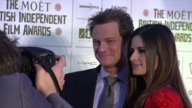 vídeos de stock, filmes e b-roll de colin firth and livia giuggioli at the moet british independent film awards at london england - colin firth