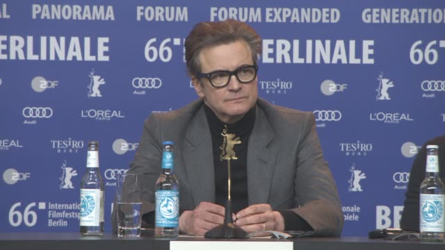 stockvideo's en b-roll-footage met colin firth at 'genius' press conference 66th berlin international film festival on february 16 2016 in berlin germany - internationaal filmfestival van berlijn 2016