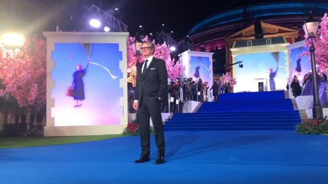 vídeos de stock, filmes e b-roll de colin firth at 'mary poppins returns' european premiere at royal albert hall on december 12 2018 in london england - colin firth