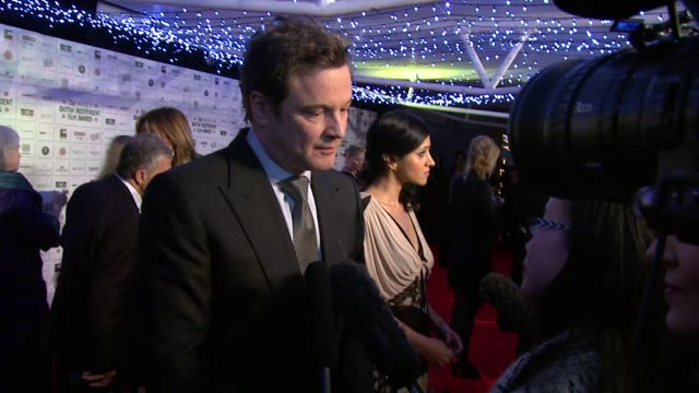 vídeos de stock, filmes e b-roll de colin firth at the moet british independent film awards at london england - colin firth