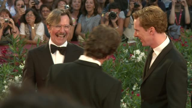 colin firth, gary oldman, benedict cumberbatch at the tinker, tailor, soldier, spy premiere: venice film festival 2011 at venice . - gary oldman stock videos & royalty-free footage