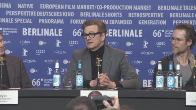 stockvideo's en b-roll-footage met interview colin firth jude law on the challenges of their characters at 'genius' press conference 66th berlin international film festival on february... - internationaal filmfestival van berlijn 2016