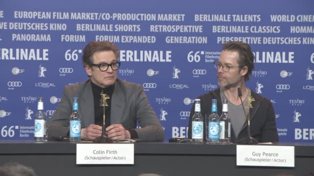 vídeos de stock, filmes e b-roll de interview colin firth laura linney on how the word genius is used comparing it's usage to david bowie at at 'genius' press conference 66th berlin... - colin firth