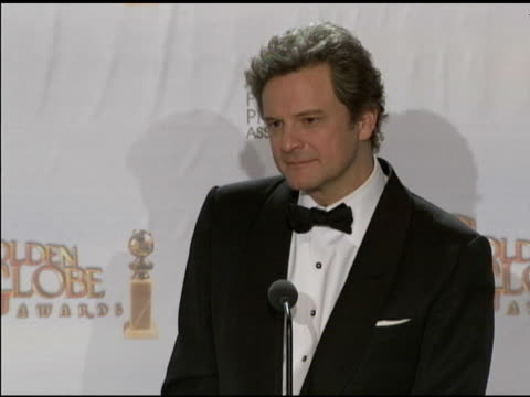Colin Firth on being a sex symbol and on the upcoming royal wedding at the 68th Annual Golden Globe Awards Press Room at Beverly Hills CA