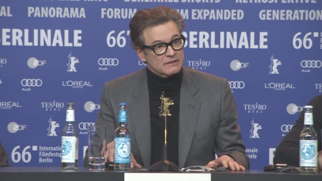 stockvideo's en b-roll-footage met interview colin firth on his character and his motivations at 'genius' press conference 66th berlin international film festival on february 16 2016... - internationaal filmfestival van berlijn 2016