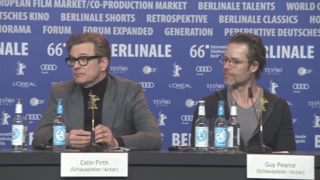 vídeos de stock, filmes e b-roll de interview colin firth on his favorite movie and book at 'genius' press conference 66th berlin international film festival on february 16 2016 in... - colin firth