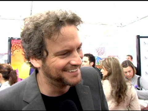 vídeos de stock, filmes e b-roll de colin firth on his interpretation of mr brown on child actors and what he find so incredible about them at the 'nanny mcphee' us premiere at... - colin firth