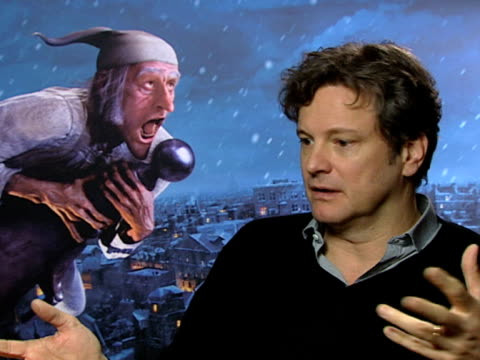 Colin Firth on how this is a more real type of filming on being readable wherever you stand on not worrying about cameras at the A Christmas Carol...