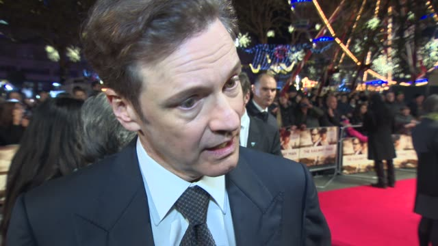 vídeos de stock, filmes e b-roll de interview colin firth on tackling the brutal nature of the story at 'the railway man' uk premiere on december 4 2013 in london england - colin firth