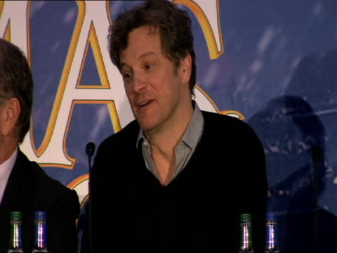 colin firth on wearing the spandex suits while filming at the a christmas carol press conference at london england - spandex stock videos & royalty-free footage