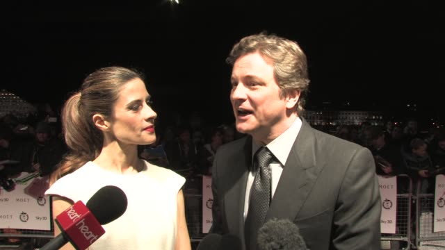vídeos de stock, filmes e b-roll de colin firth on why he thinks the film was a success and more at the 31st london film critics' circle awards at london england - colin firth