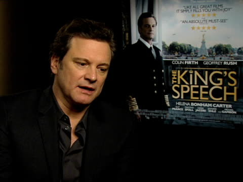 Colin Firth on working on the stammer and the work to achieve it at the INTERVIEW The King's Speech at London England