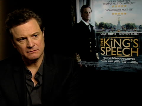 Colin Firth on working with the rest of the cast and how it helped developing the character at the INTERVIEW The King's Speech at London England