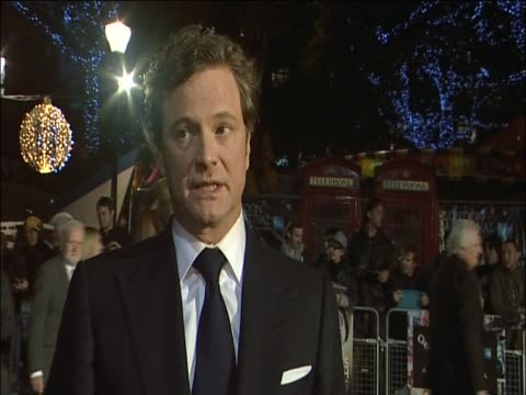 Colin Firth talks about King George VI at the premiere of his new film 'The King's Speech'