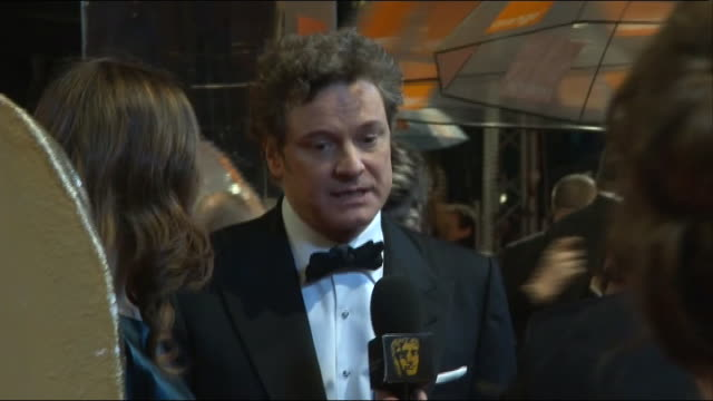 Colin Firth talks to press at the British Academy Film Awards 2011