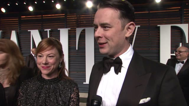 interview colin hanks at the 2015 vanity fair oscar party hosted by graydon carter at wallis annenberg center for the performing arts on february 22... - wallis annenberg center for the performing arts stock videos and b-roll footage