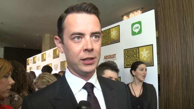 interview colin hanks on his series 'fargo' on reaction from the fans and on the current quality of television at the 2014 critics' choice television... - television show stock videos & royalty-free footage