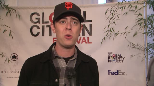 colin hanks on why tonight is important and what being a global citizen means at global citizen festival in central park to end extreme poverty at... - great lawn stock videos and b-roll footage