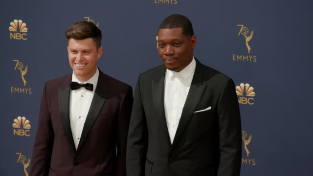 colin jost and michael che at the 70th emmy awards arrivals at microsoft theater on september 17 2018 in los angeles california - 70th annual primetime emmy awards stock videos and b-roll footage