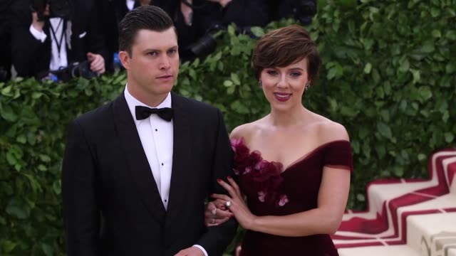 colin jost and scarlett johansson at heavenly bodies fashion the catholic imagination costume institute gala at the metropolitan museum of art on may... - scarlett johansson stock videos and b-roll footage
