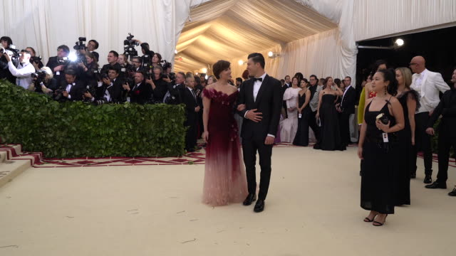 colin jost and scarlett johansson at heavenly bodies fashion the catholic imagination costume institute gala alternative views at the metropolitan... - scarlett johansson stock videos and b-roll footage