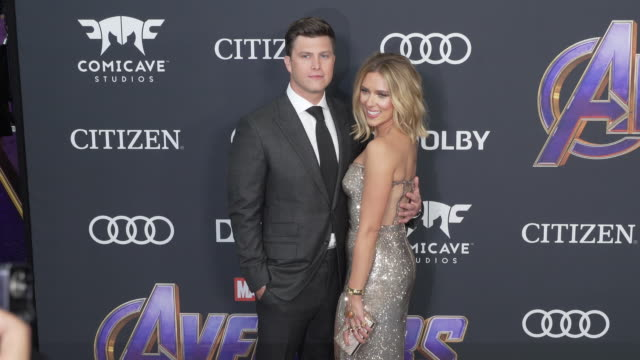 colin jost and scarlett johansson at the world premiere of marvel studios' avengers endgame at los angeles convention center on april 22 2019 in los... - scarlett johansson stock videos and b-roll footage