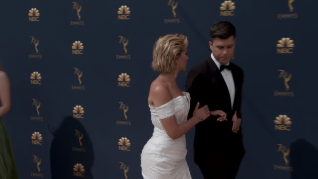 colin jost and scarlett johansson on the red carpet for the 2018 emmy awards. - emmy awards stock videos & royalty-free footage