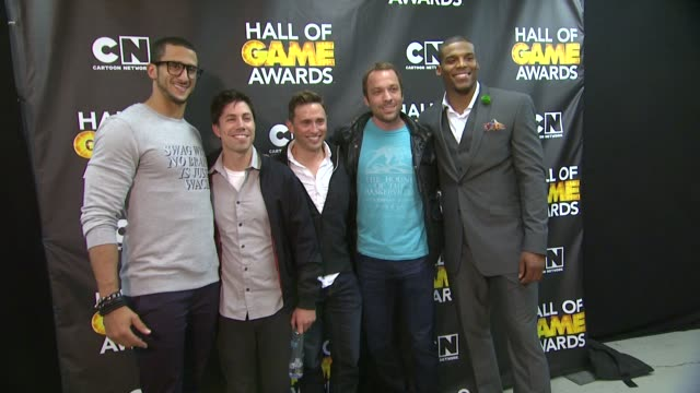 Colin Kaepernick and Cam Newton at Cartoon Network Hosts Fourth Annual Hall Of Game Awards at Barker Hangar on February 15 2014 in Santa Monica...