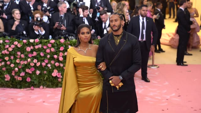 colin kaepernick and nessa at the 2019 met gala celebrating camp notes on fashion arrivals at metropolitan museum of art on may 06 2019 in new york... - met gala 2019 stock videos and b-roll footage
