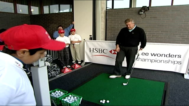 colin montgomerie gives golf advice at 'wee wonders' golf day england london northwick park majors golf club ext golfer colin montgomerie along to... - driving range stock videos & royalty-free footage