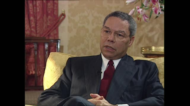 colin powell interviewed by trevor mcdonald; part 1 of 4 england: london: mayfair: connaught hotel: int general colin powell interviewed by trevor... - individuality stock videos & royalty-free footage