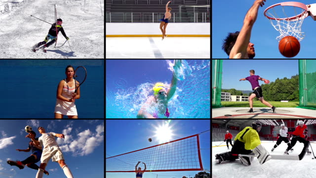 hd montage: collage of attractive sport action - film montage stock videos & royalty-free footage