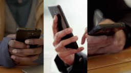 Collage of close up shots of male hands texting on smartphone