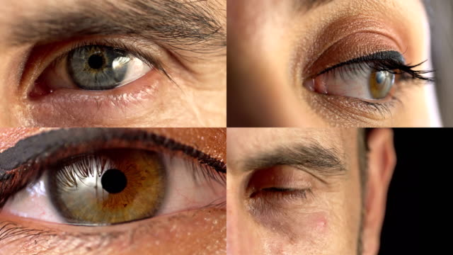 collage of male and female eyes looking straight to camera - eyeball stock videos and b-roll footage
