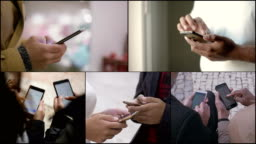 Collage of people hands working, texting or typing on phones