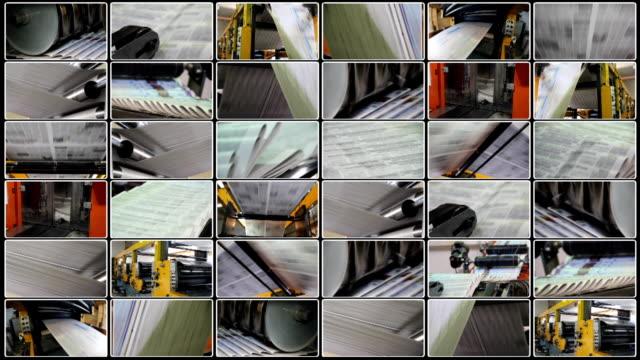 vídeos de stock e filmes b-roll de colagem de impressão de jornais - fábrica de impressão