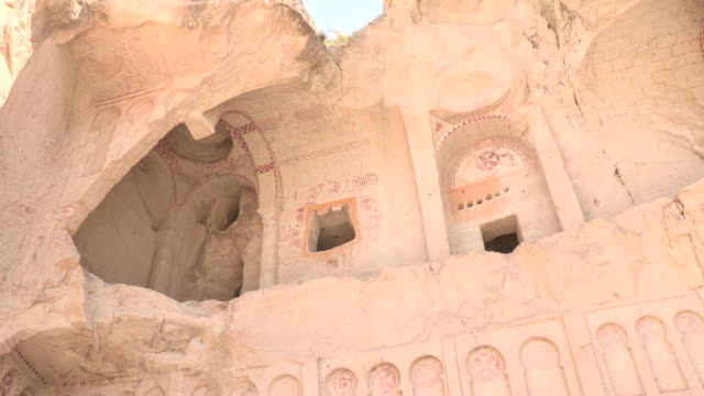 collapsed churche, cappadocia, turkey - cliff dwelling stock videos & royalty-free footage